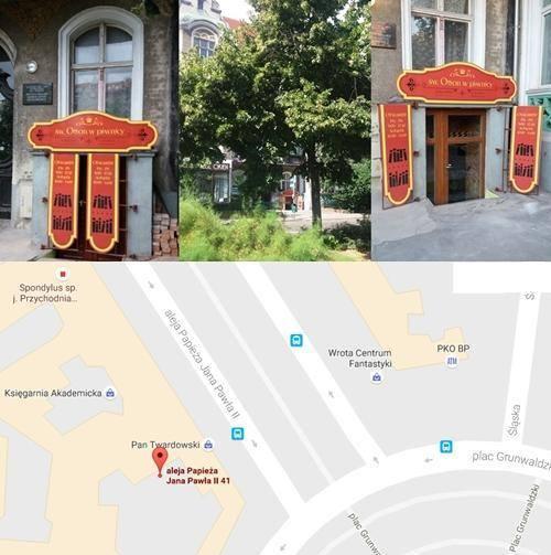 Nowa księgarnia katolicka ŚW. Otton w piwnicy al. Jana Pawła II nr 41 u1 (przy Placu Grunwaldzkim, za dekoracją okien- po lewej stronie patrząc z Placu Grunwaldzkiego w kierunku Urzędu Miasta).